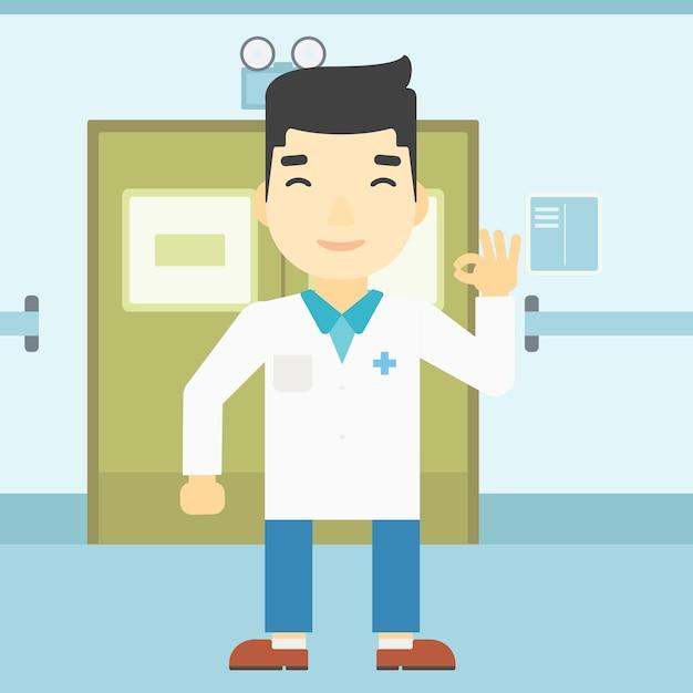 Medico che mostra l'illustrazione di vettore del segno giusto. Vettore Premium