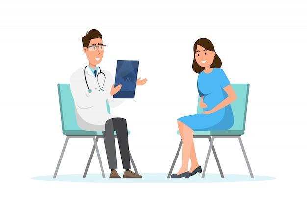 Medico che mostra lo strato di ultrasuono alla donna incinta all'ospedale Vettore Premium