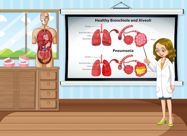 Medico che spiega la malattia polmonare nella stanza Vettore gratuito