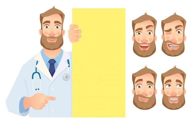 Medico che tiene l'insieme in bianco dell'insegna Vettore Premium