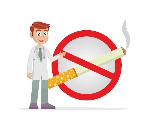 Medico con un segno di sigaretta proibito. Vettore Premium