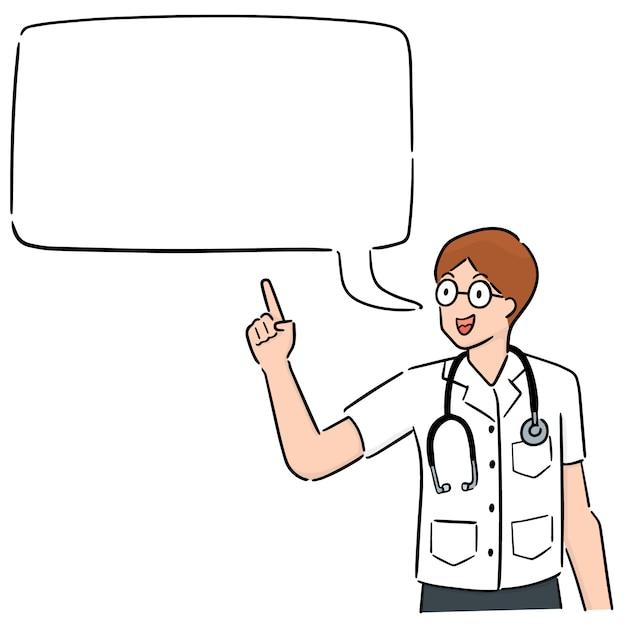 Medico del fumetto con il dialogo buble Vettore Premium