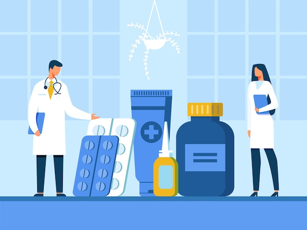 Medico e infermiere presenting new drugs illustration Vettore Premium