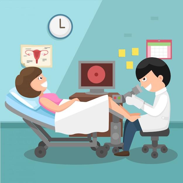 Medico, ginecologo che esegue l'esame obiettivo Vettore Premium