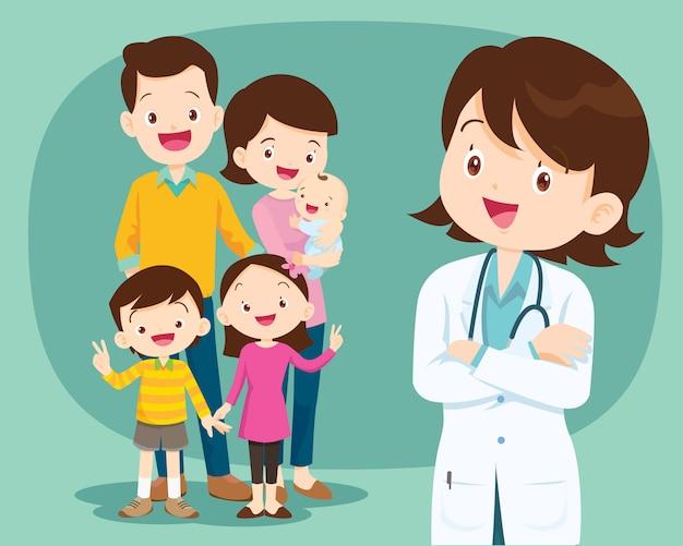 Medico sorridente e famiglia carina Vettore Premium