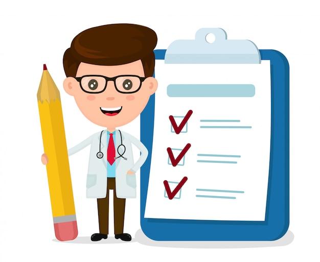 Medico sorridente felice con la matita, appunti, lista di controllo completata. Vettore Premium