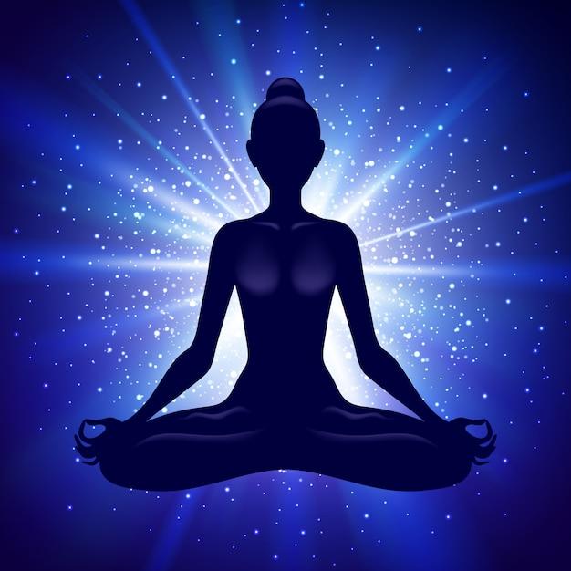 Meditando donna nella posa del loto. illustrazione di yoga Vettore Premium
