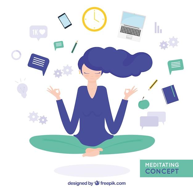 Meditando il concetto con la donna d'affari Vettore gratuito