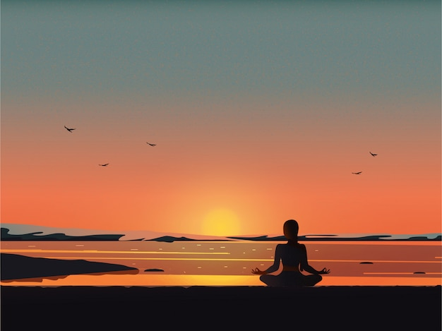 Meditazione sulla spiaggia Vettore Premium