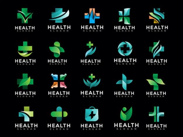 Mega confezione di logo medico sanitario Vettore Premium
