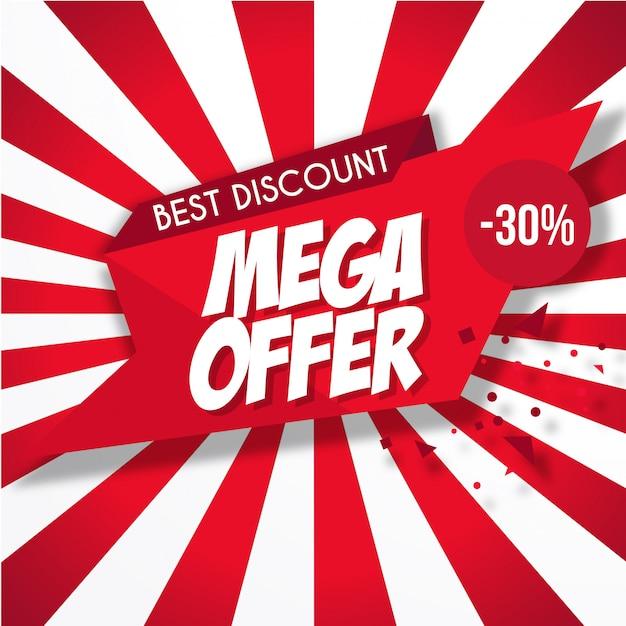 Mega offre banner rosso Vettore gratuito