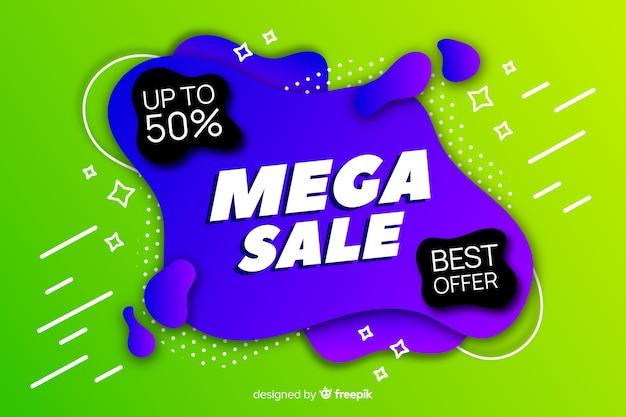 Mega sfondo di vendita con forme astratte Vettore gratuito
