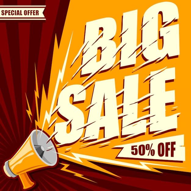 Megafono con il grande testo dell'insegna di vendita per il vettore di promozione delle vendite Vettore Premium