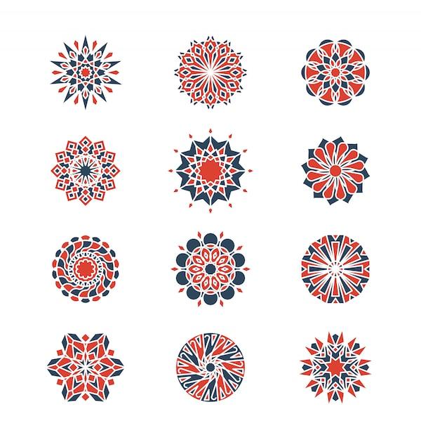 Mehendi e motivi circolari arabi. logo design geometrico in stile islamico Vettore Premium