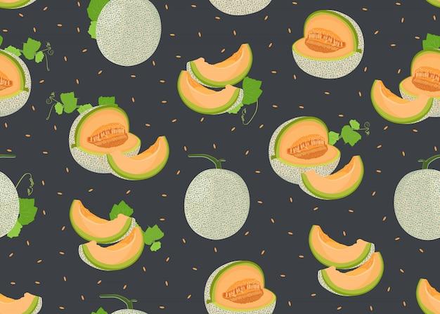 Melone intero e affettare seamless Vettore Premium