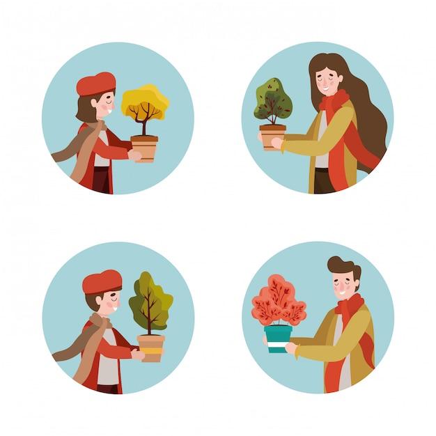 Membri della famiglia con vestiti e piante autunnali Vettore Premium