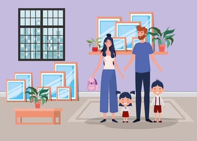 Membri della famiglia in scena luogo casa Vettore gratuito