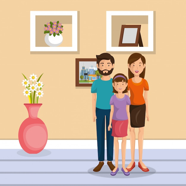 Membri della famiglia nel soggiorno Vettore gratuito