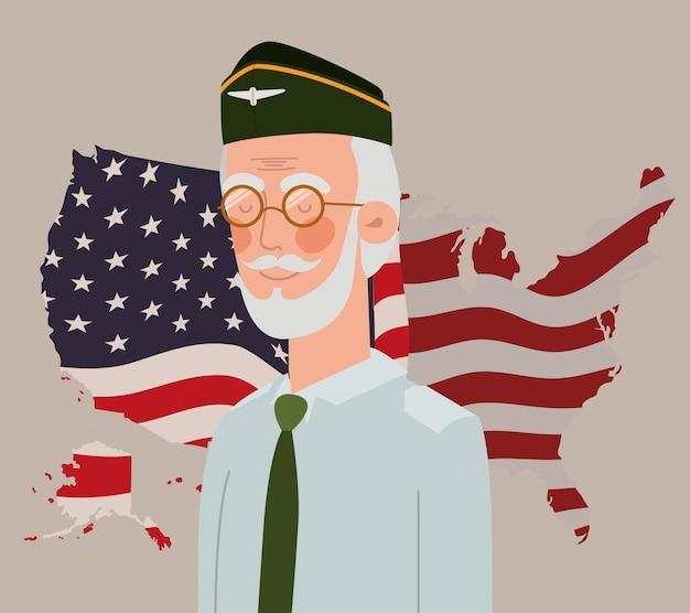 Memorial day card con bandiera veterani e usa nella mappa Vettore Premium