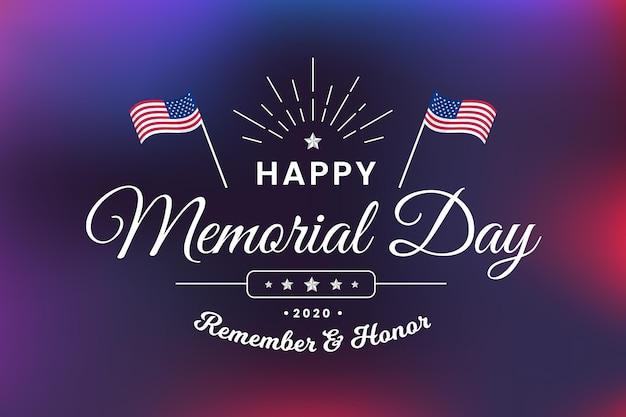 Memorial day offuscata con bandiere Vettore gratuito