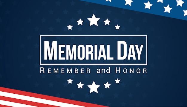 Memorial day - ricorda e onora la carta vettoriale. Vettore Premium