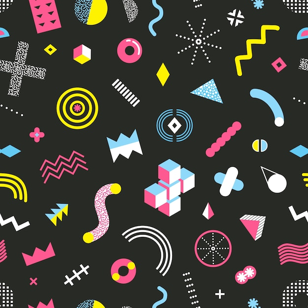 Memphis design seamless pattern Vettore gratuito