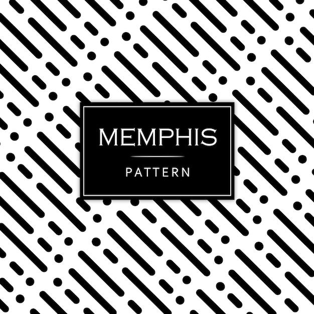 Memphis pattern background in bianco e nero moderno Vettore gratuito