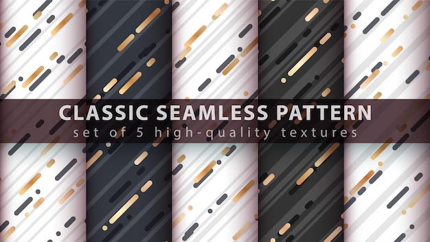 Memphis seamless pattern - set cinque elementi. Vettore Premium