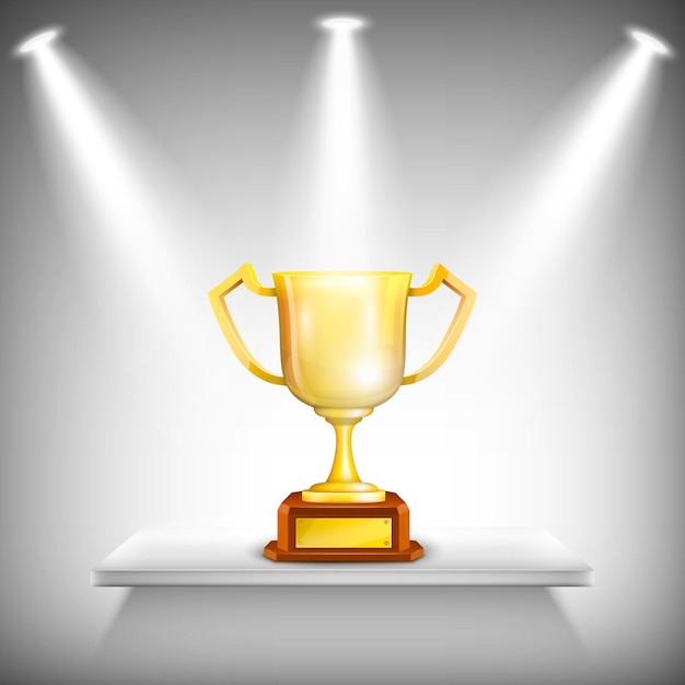 Mensola con coppa golden trophy. Vettore Premium