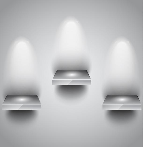 Mensola con faretti a parete per prodotti display Vettore Premium