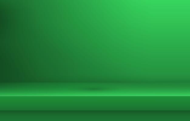 Mensola vuota di colore verde con ombra Vettore Premium