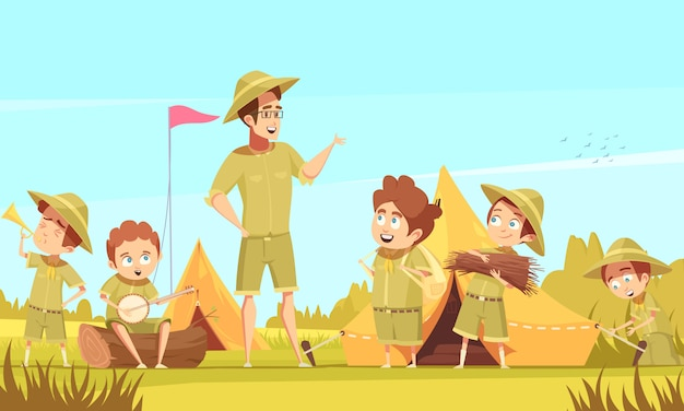Mentore scouting ragazzi guida avventure all'aria aperta e attività di sopravvivenza in campeggio poster retrò dei cartoni animati Vettore gratuito