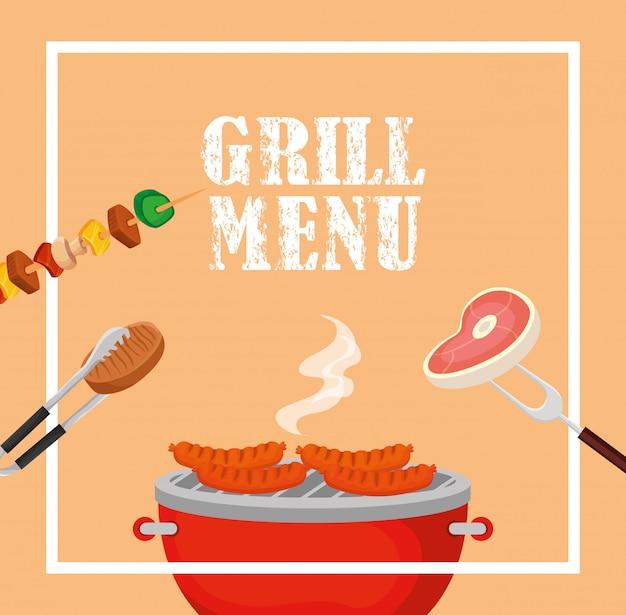 Menu alla griglia con cibo delizioso in cornice quadrata Vettore gratuito