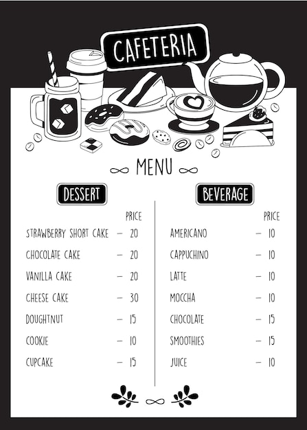Menu caffetteria, menu caffetteria doodle con dessert e bevande. Vettore Premium