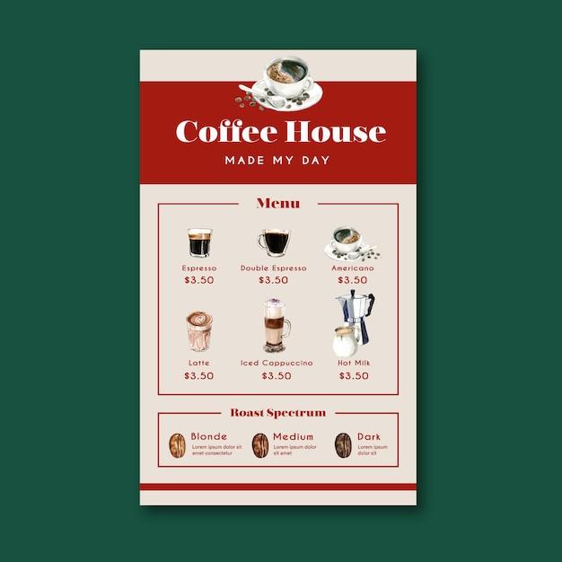 Menu del caffè americano, cappuccino, menu espresso, infografica, illustrazione dell'acquerello Vettore gratuito