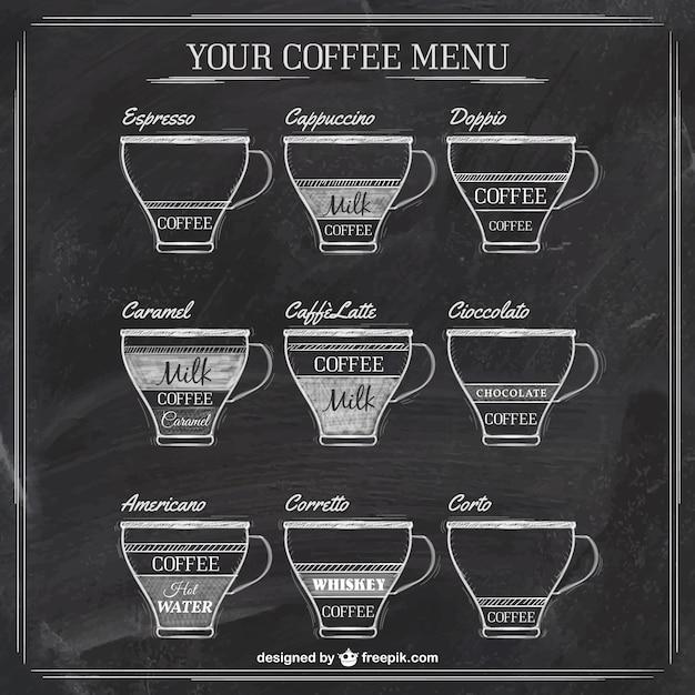 Menu del caffè sulla lavagna Vettore gratuito