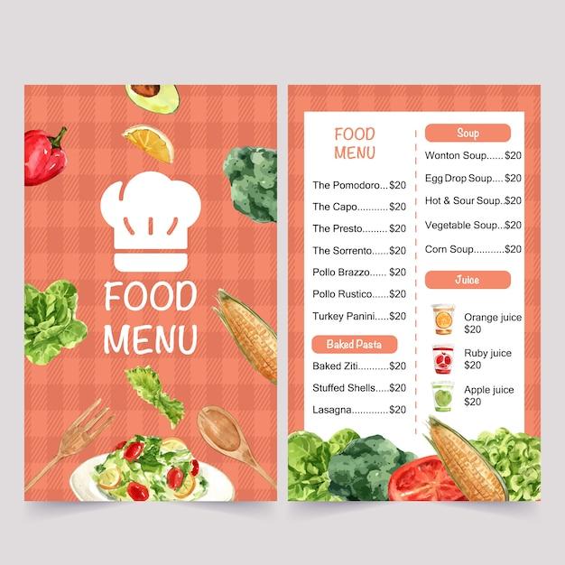 Menu del giorno dell'alimento mondiale con mais, broccoli, illustrazioni isolate acquerello di butterhead. Vettore gratuito