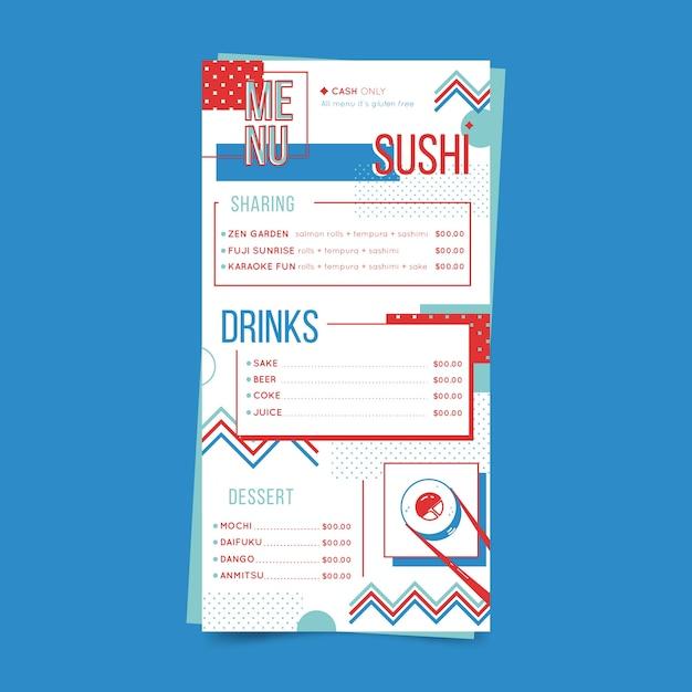 Menu del ristorante con modello di sushi Vettore gratuito