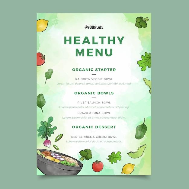 Menu del ristorante di cibo sano dell'acquerello Vettore gratuito