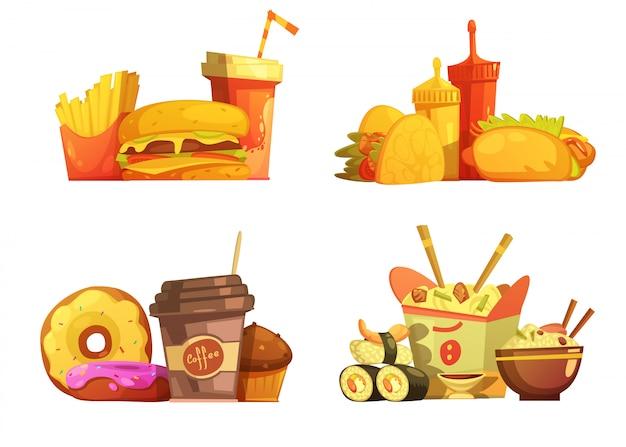 Menu del ristorante fast food 4 campioni di composizione quadrata con cartone animato taco e sushi Vettore gratuito