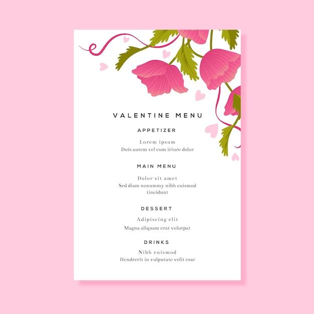Menu del ristorante floreale per san valentino Vettore gratuito