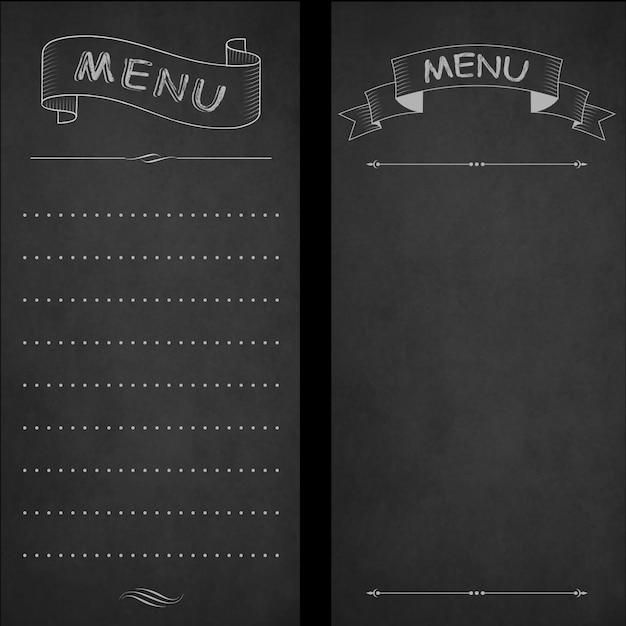 Menu del ristorante, gesso sulla lavagna. design vintage, stile disegnato a mano Vettore Premium