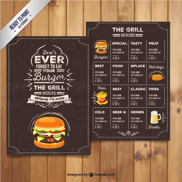 Menu del ristorante Grill in stile retrò Vettore Premium