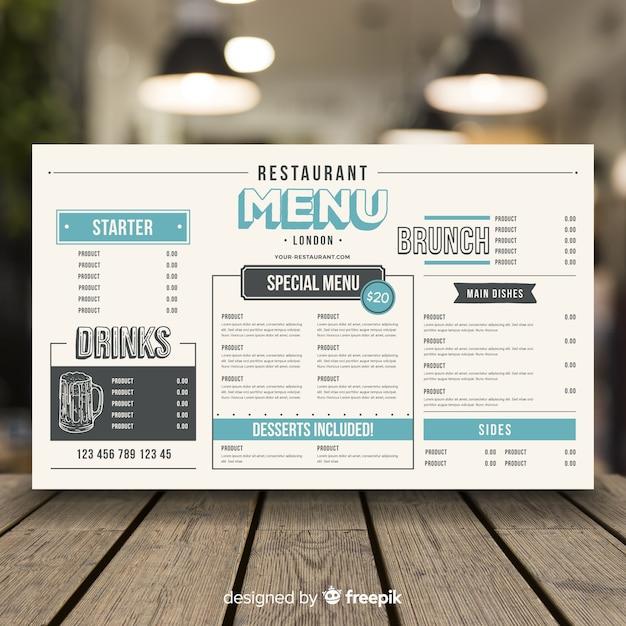 Menu del ristorante in stile vintage Vettore gratuito