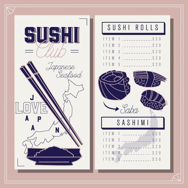 Menu del ristorante modello di sushi club. frutti di mare giapponesi Vettore Premium
