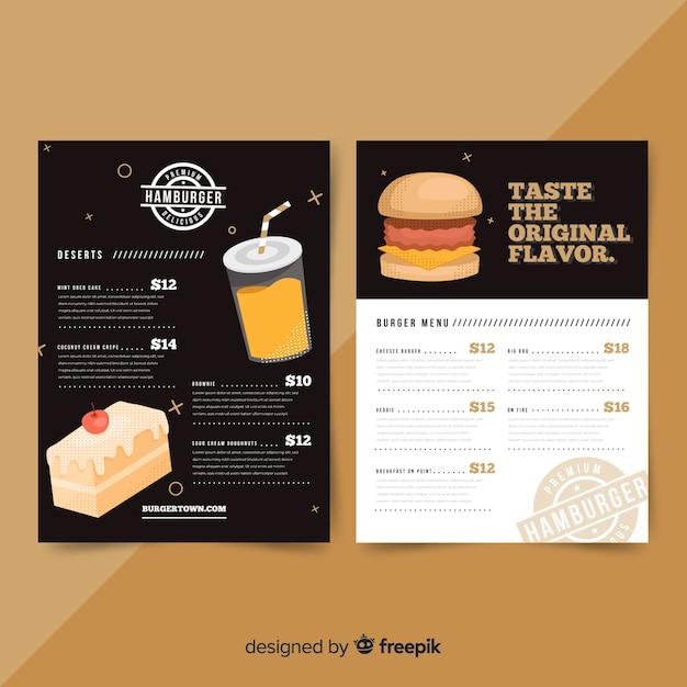 Menu del ristorante moderno con modello di hamburger Vettore gratuito