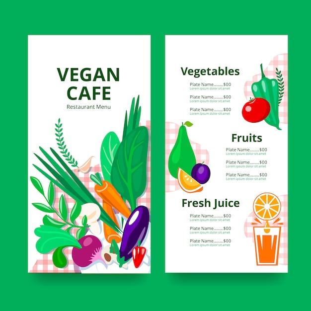 Menu del ristorante per vegani o vegetariani. Vettore Premium