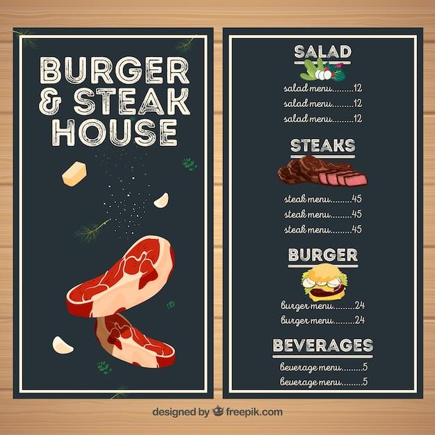Menu del ristorante steakhouse Vettore gratuito