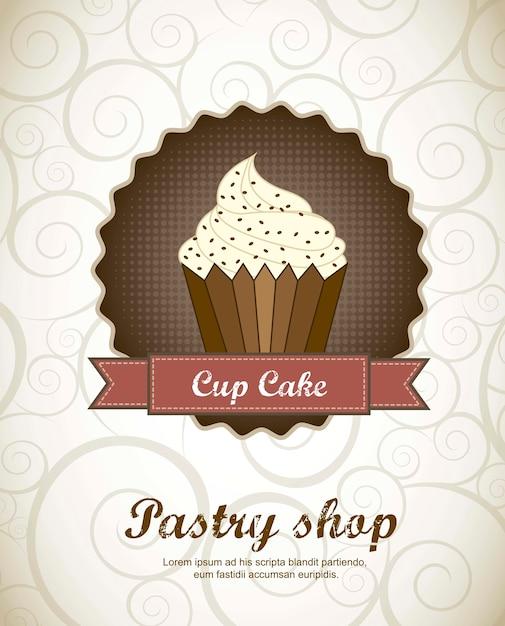 Menu della pasticceria con l'illustrazione di vettore del dolce della tazza Vettore Premium
