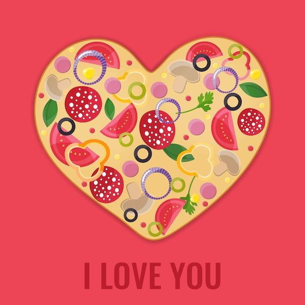 Menu design di san valentino. cuore di pizza. Vettore Premium